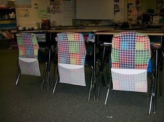 Large stretchy book covers as chair organizers....love it!!!!