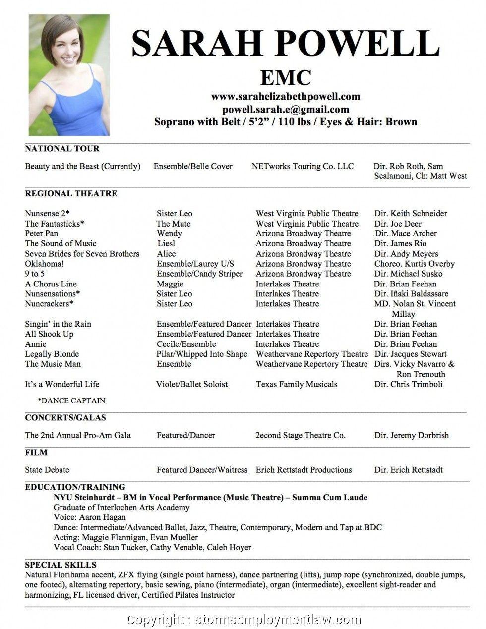 theatre resume template free