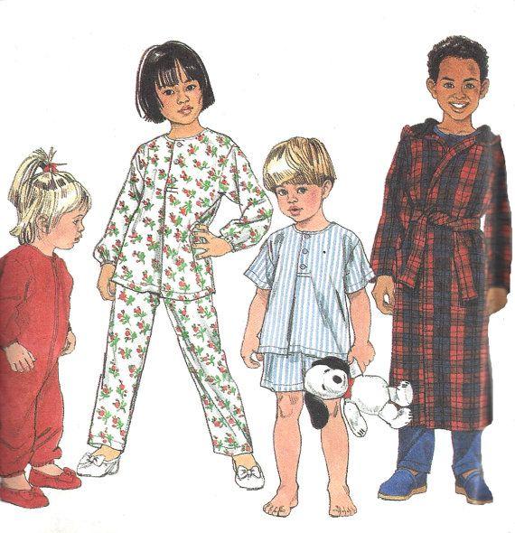 7407 VINTAGE Simplicity Sewing Pattern Childs Pajamas Nightshirt Robe Booties