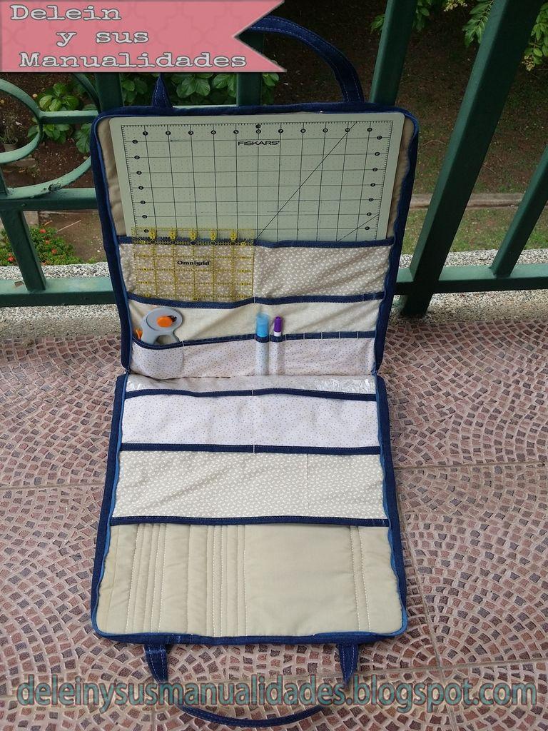 Tutorial bolso porta tabla para cortar y reglas de patchwork diy cutting matt bag costura - Como hacer pachwork ...