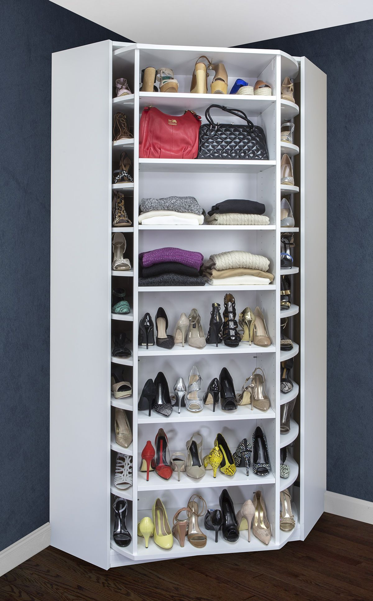 Rotating storage for your closet is a great space saver for Extra closet storage