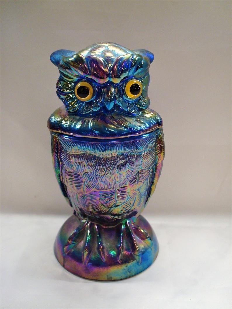 Vintage Carnival Glass Owl Jar Iridescent Blue Glass Owl Etsy Carnival Glass Blue Carnival Glass Vintage Carnival