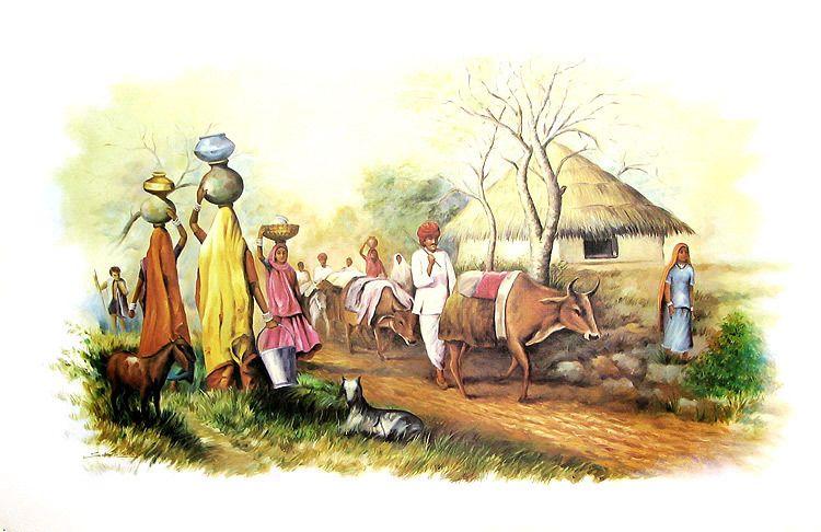 Scene of indian village reprint on paper unframed