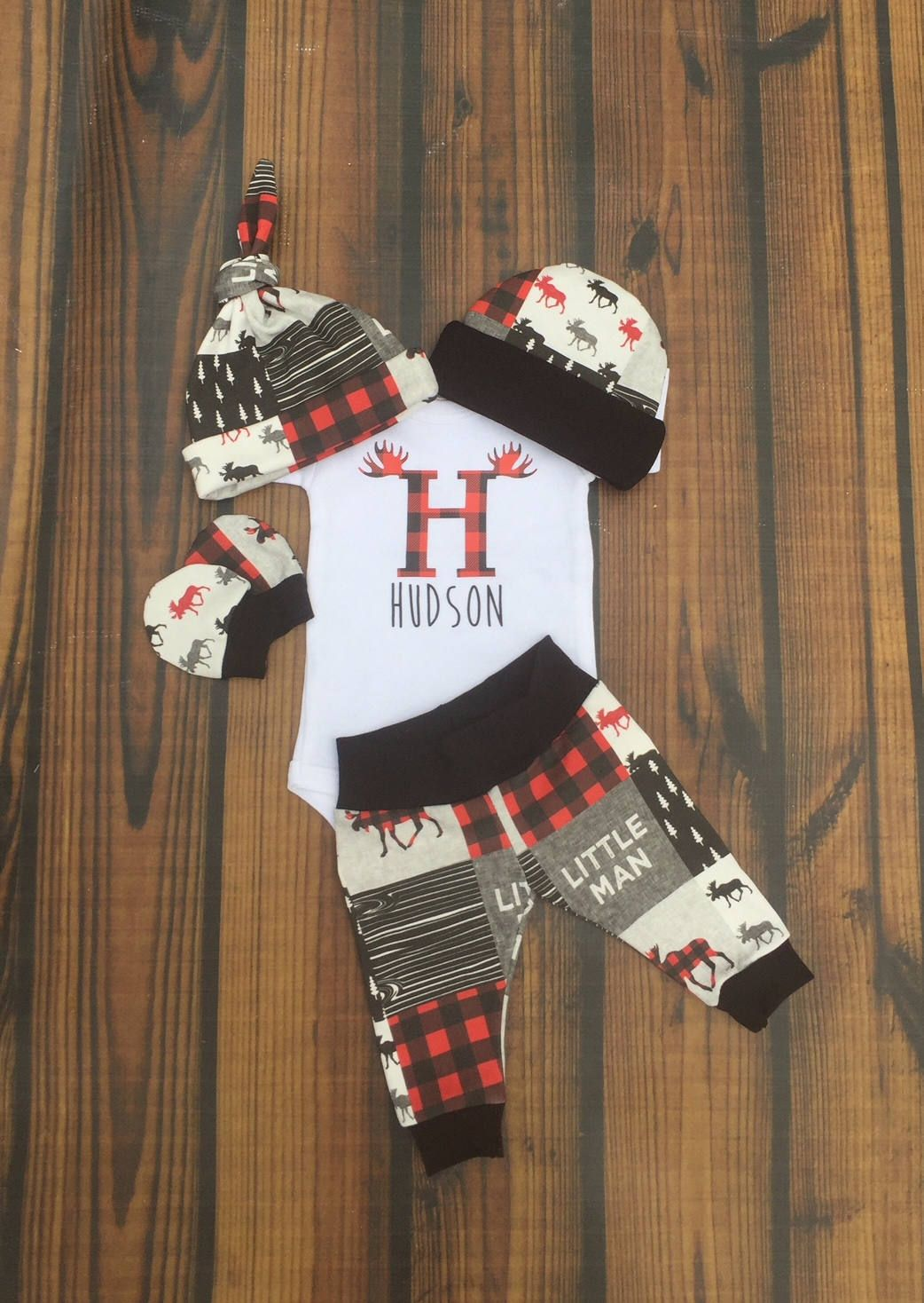 dc0316aa6 Boys Coming Home Outfit, Moose Buffalo Plaid Personalized Baby Boy Outfit,  Little Man Newborn Winter Outfit, Baby Boy Layette and Hat Set by ...