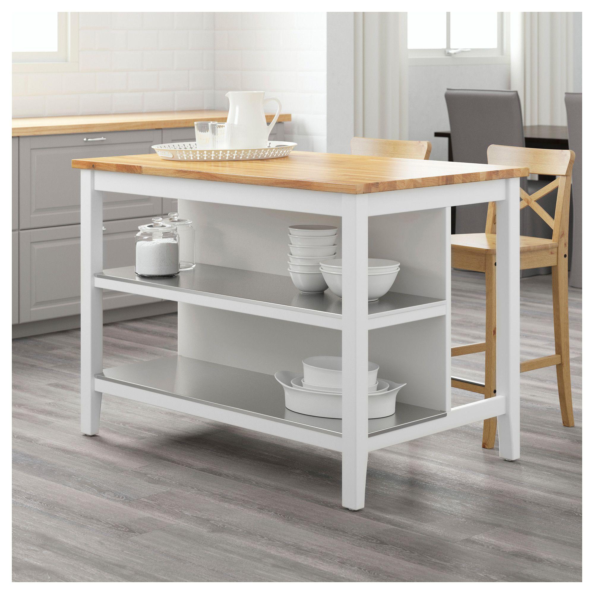 STENSTORP Kitchen island White/oak 126x79 cm