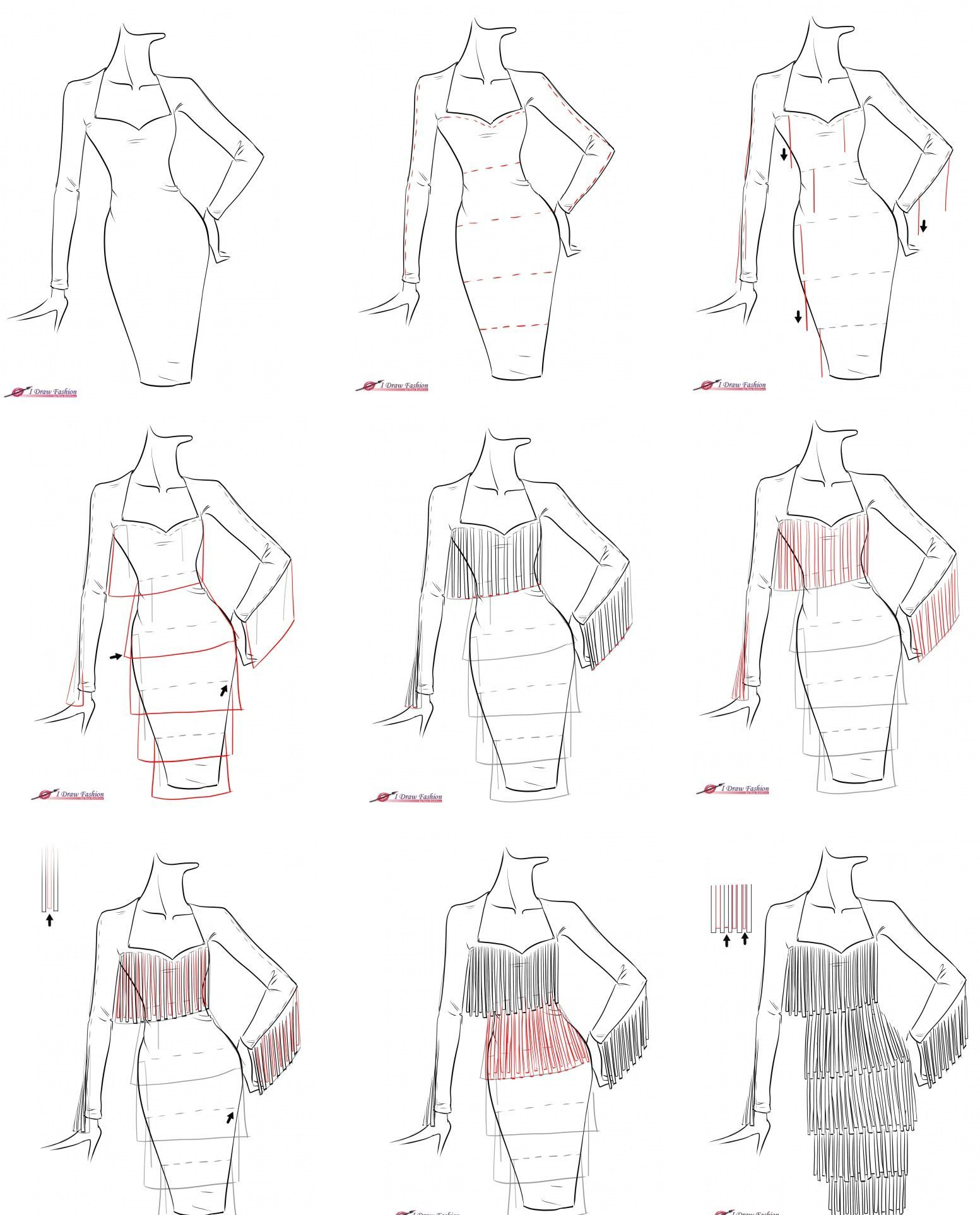 A Step By Step Tutorial On How To Draw Fringe Dress Step By Step Sketches Illustration Fashion Design Fashion Illustration Sketches