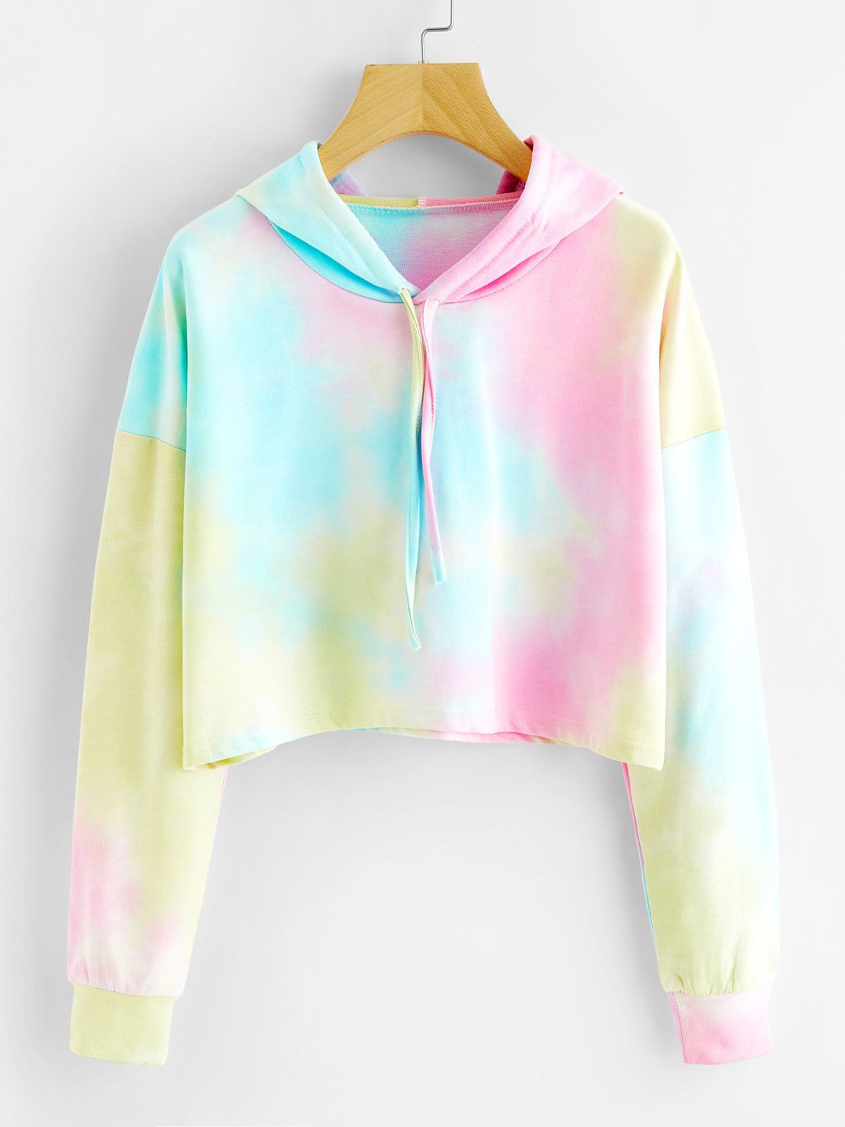 Tie Dye Drop Shoulder Crop Hoodie size medium