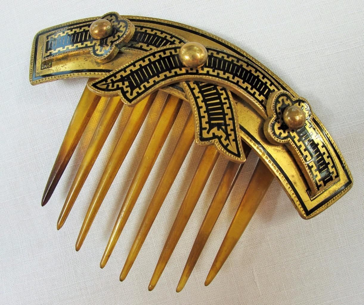 Antique Victorian Etruscan Revival Gilt Ormolu Hinged Horn Hair Comb C1860 | eBay