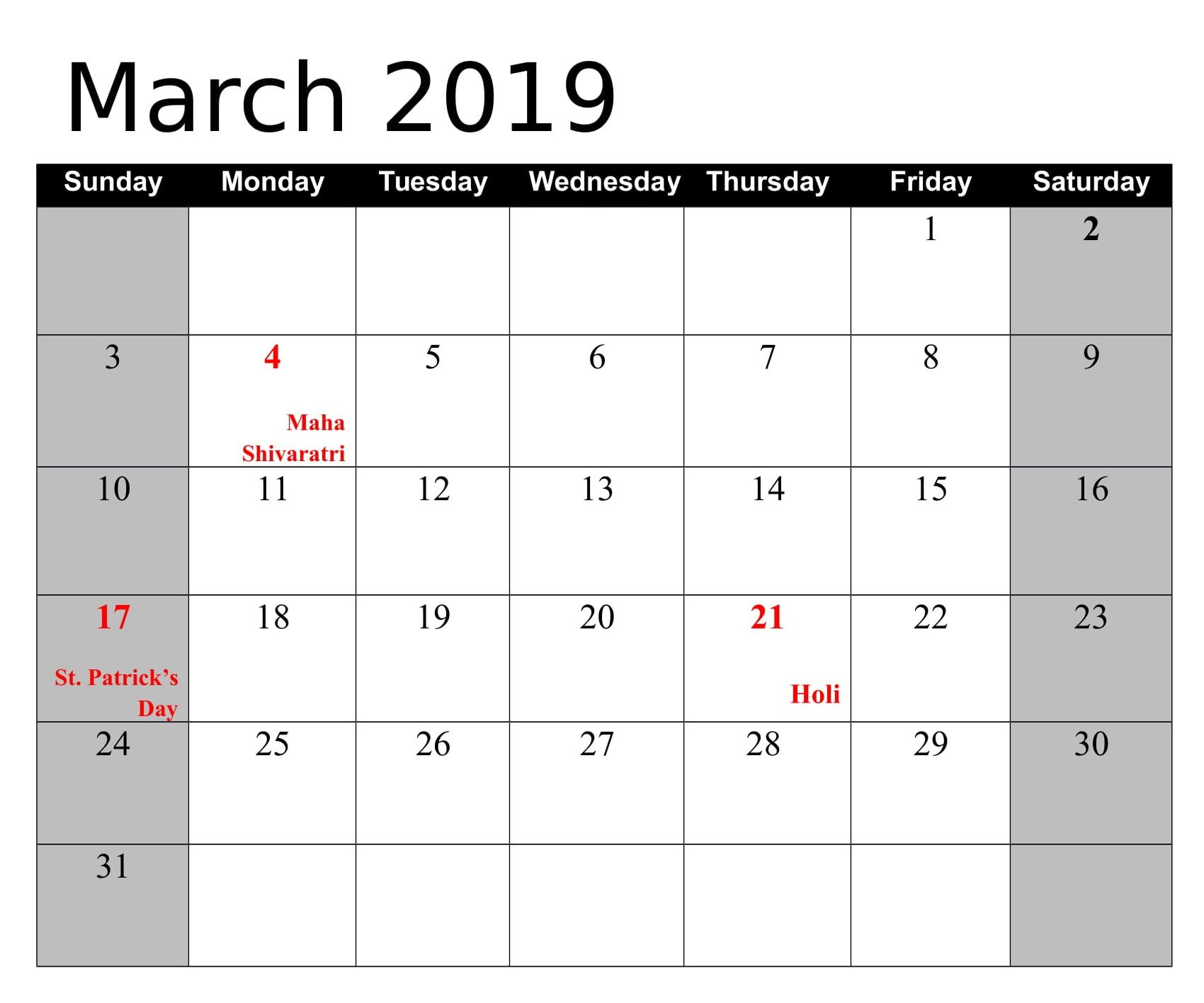 March 2019 With India Holidays Calendar Holiday Calendar