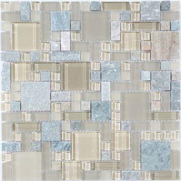 Contemporary Mocha Unique Shapes Cream/Beige Backsplash Glossy & Frosted Glass - modern - Tile - Glass Tile Oasis