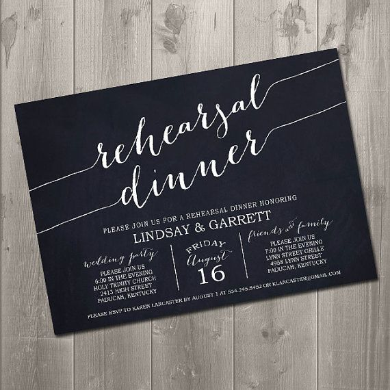 Diy Chalkboard Wedding Invitations: Handwritten Rehearsal Invitation
