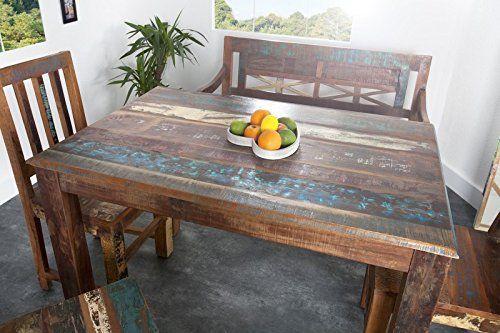 Casa Padrino Massivholz Esstisch Vintage Teakholz Recycled 120 Cm    Esszimmer Vintage Look Design Tisch Massiv