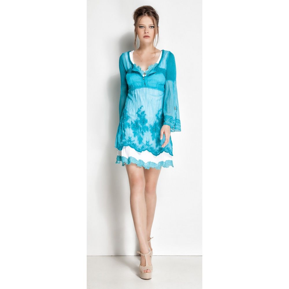 Dresses With White And Turquoise Elisa Cavaletti Jersey Dress