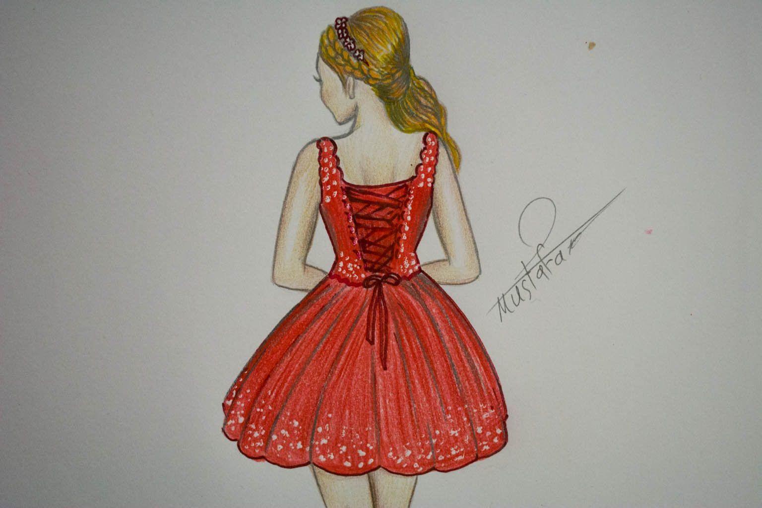 تعلم رسم جسم فتاة مع فستان قصير مميز How To Draw Girl With A Dress Fashion Sketches Girl Drawing Fashion
