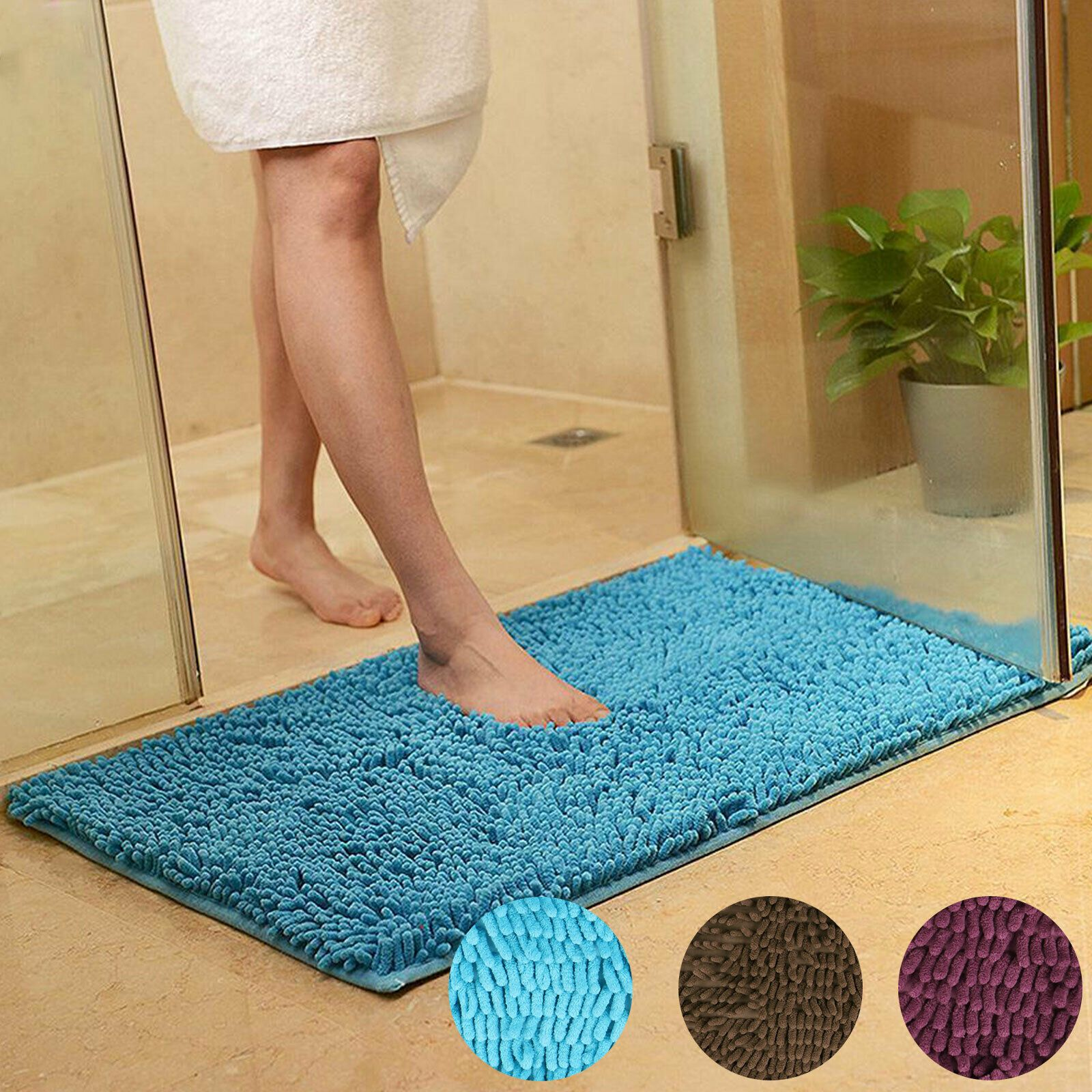Details About Soft Microfibre Shaggy Non Slip Absorbent Bath Mat