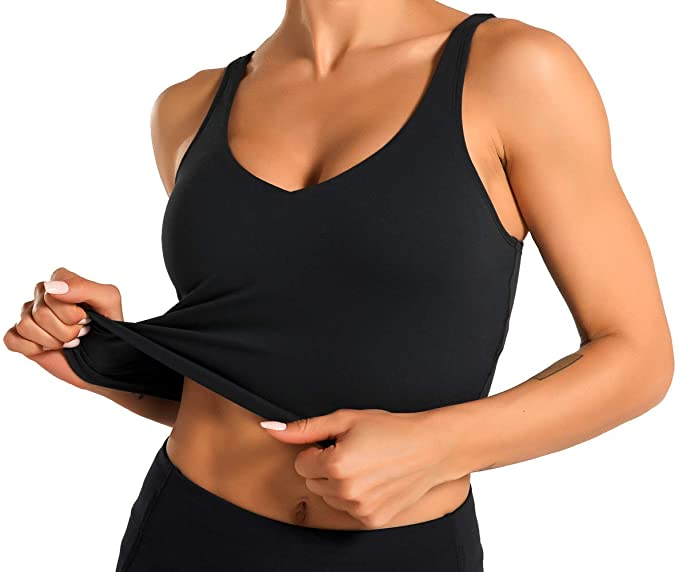 Athletic Women Sports Bra Yoga Tank Longline Padded Workout Crop Tank Top