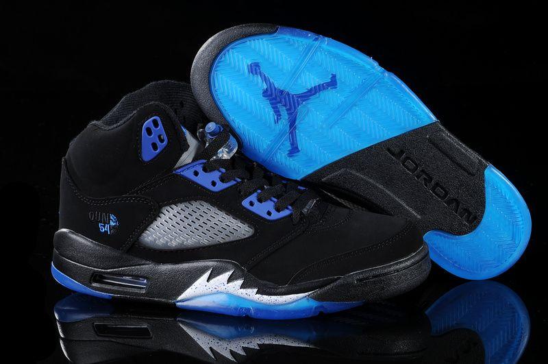 60e21019306 coupon code for air jordan 5 v retro embroidery black white blue shoes aj5  026 bec8b