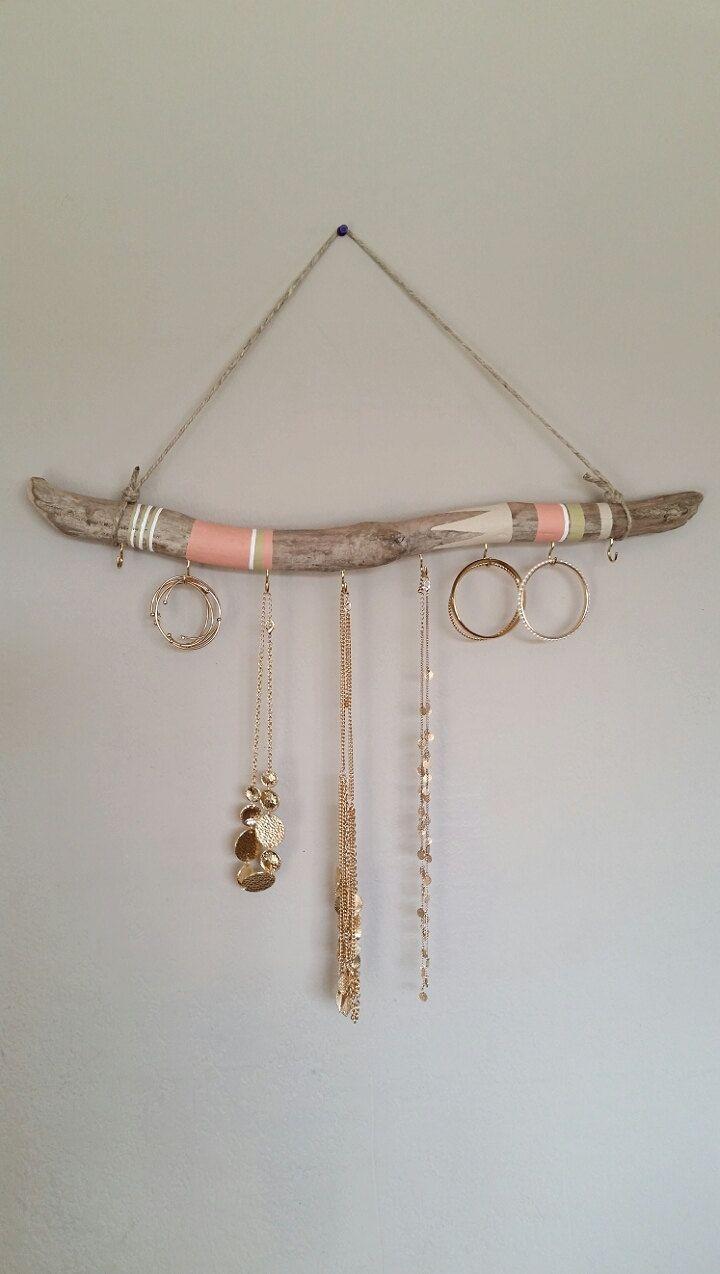 Jewelry Holder Wall Driftwood Jewelry Organizer 2ft Hanging Jewelry Display Aztec