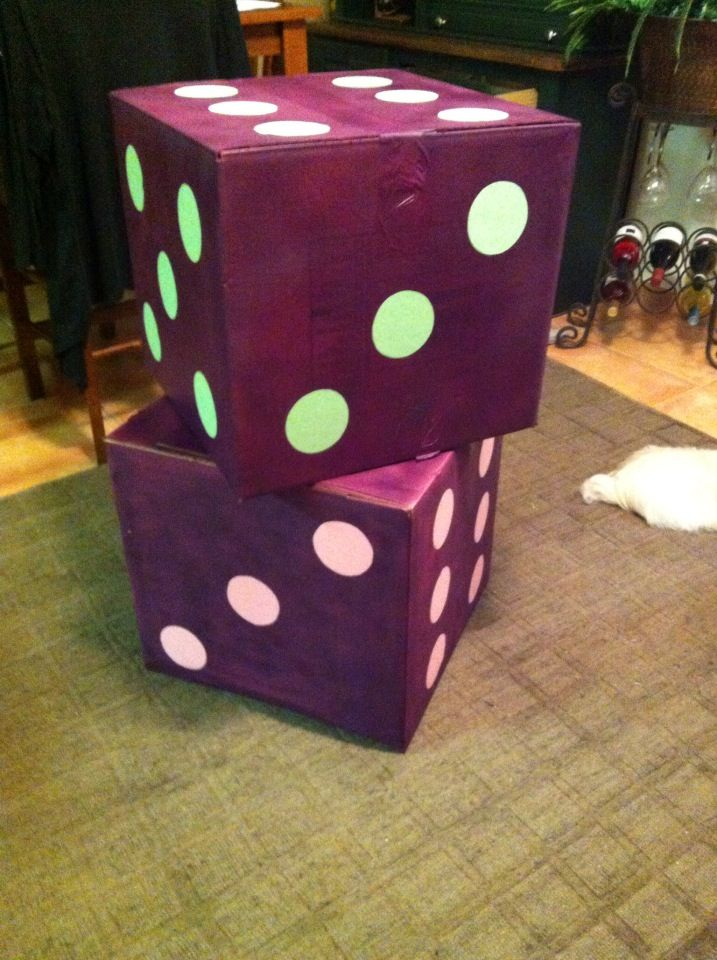 24X24 CARDBOARD BOX DICE SPRAY PAINTED & CONSTRUCTION PAPER CIRCLES FOR 2014 RFL 50's THEMED EVENT! BIG HIT!