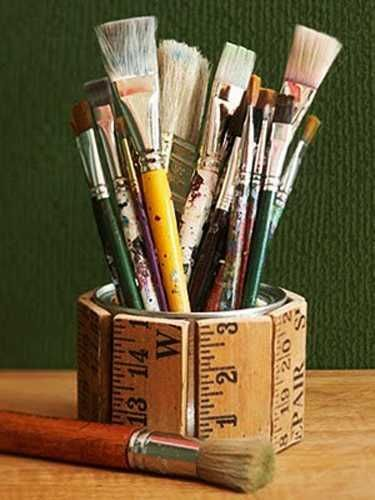 Use Grandpau0027s Yardstick To Make This!Paintbrush Holder From Recycled  Yardsticks: Embellish A Can Or Box With Sawed Off Rulers And Yardsticks.