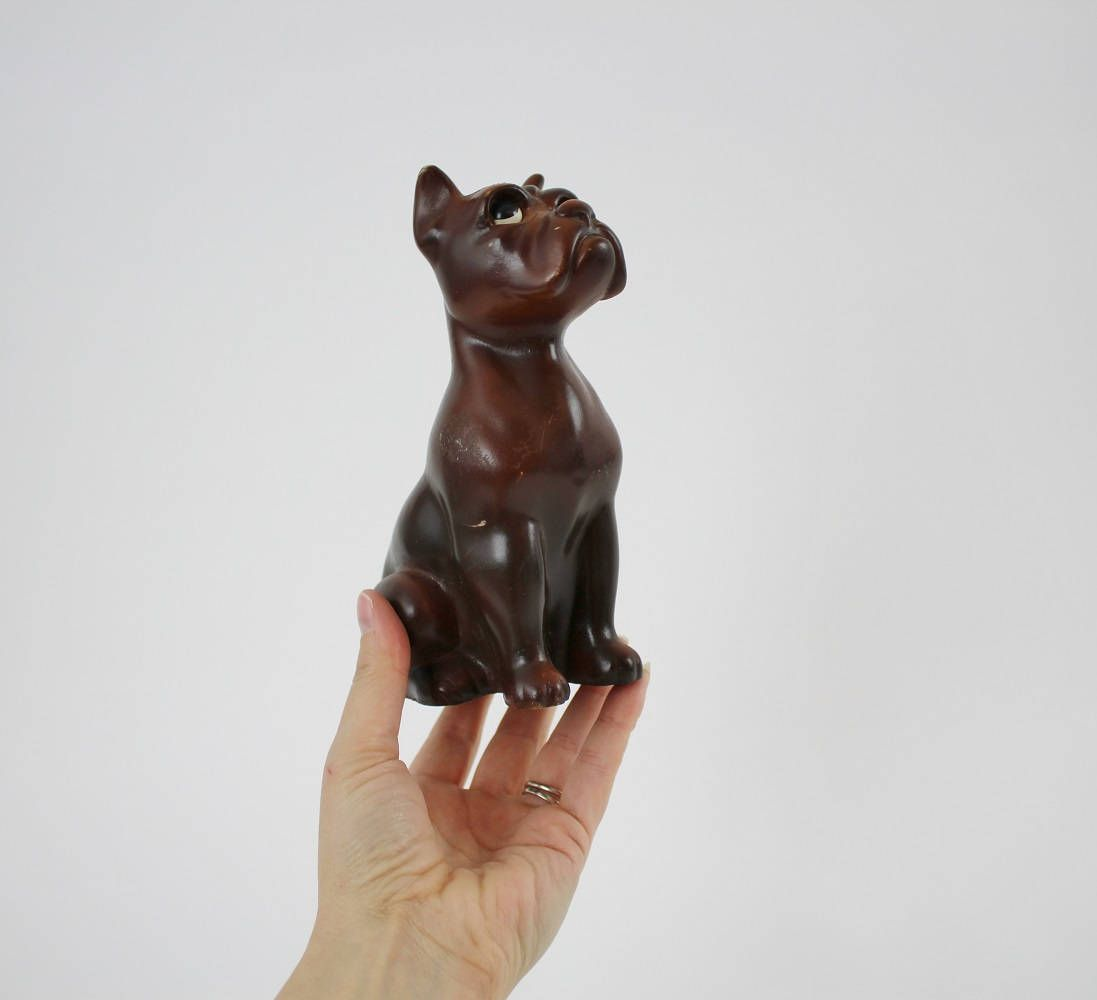 Vintage Plastic Boxer Dog Coin Bank Plastic Toy Dog Figurine