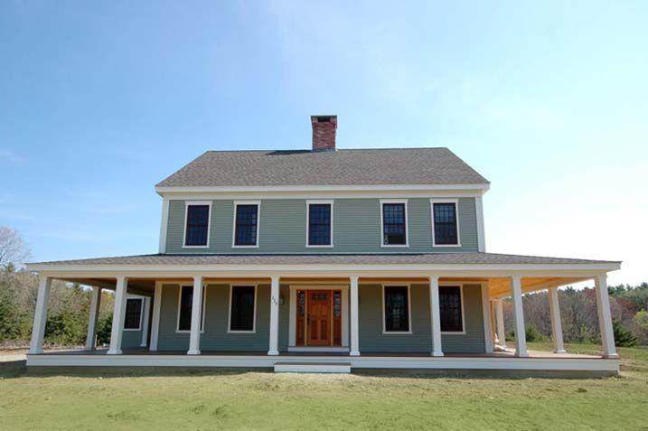 New england farmhouse w wrap around porch hq plans for Modern homes with wrap around porches