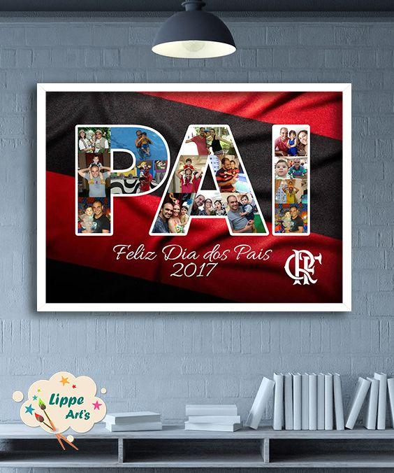 Quadro decorativo de dia dos pais com fotos de pai e filho no tema flamengo 57e1e3345a957