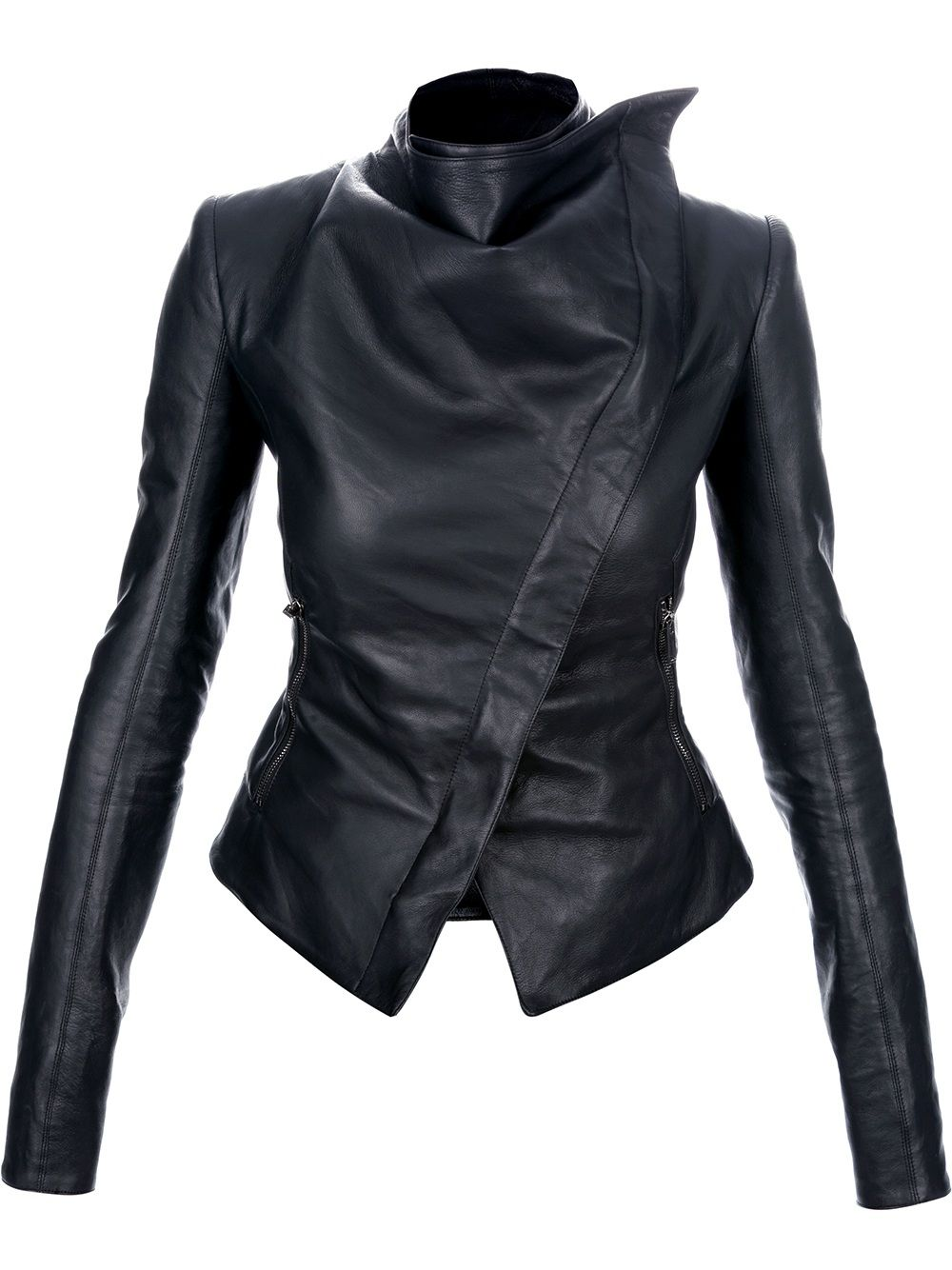 Gareth Pugh Asymmetric Leather Jacket Farfetch Com Designer Leather Jackets Fashion Leather Jacket [ 1334 x 1000 Pixel ]