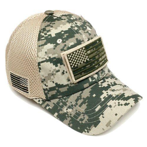 bedf5b13b75 US Army Desert Green Digital Camo Vintage Cotton Cap USA Flag Patch Trucker  Mesh Hat