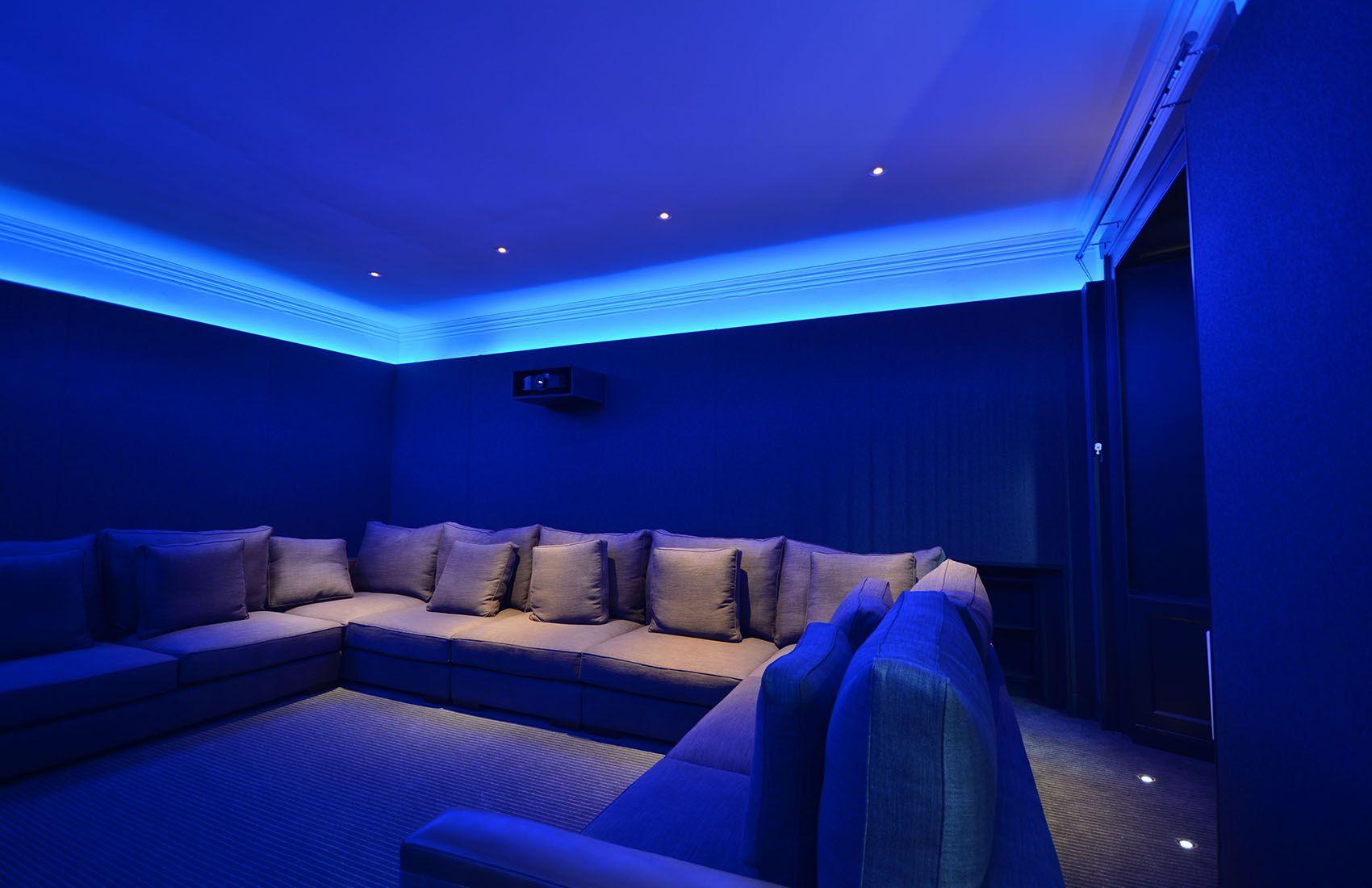 Modern Home Cinema Room Bespoke Walls Lighting And Projector Housing