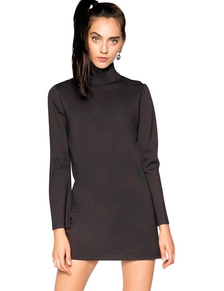 39d0e73c13 Black turtleneck neoprene dress - mock neck dress