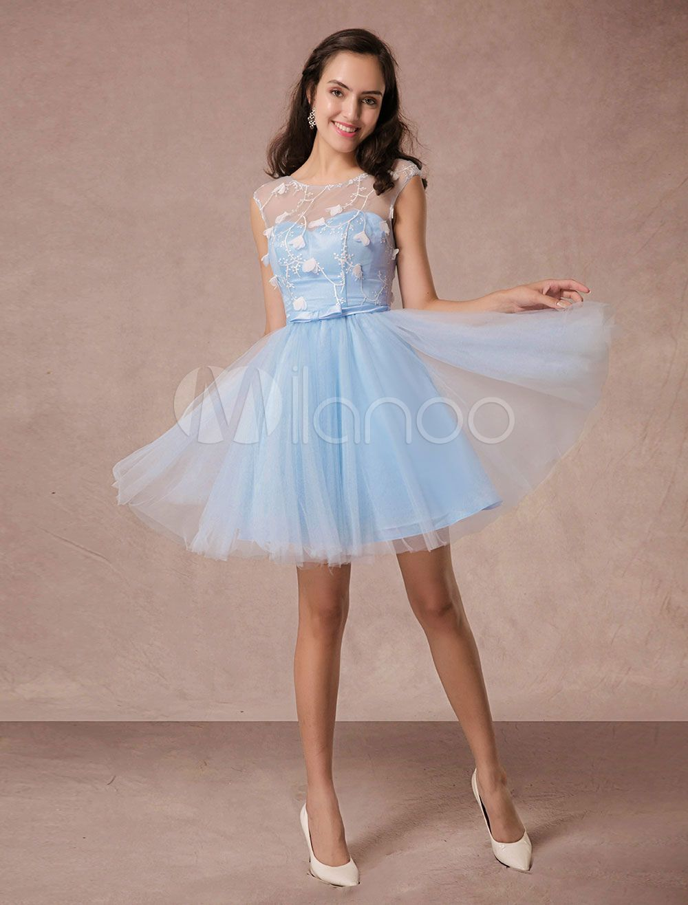 Short prom dress blue lace homecoming dress backless flower applique