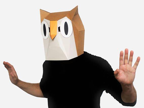 Owl Mask DIY Printable Animal Head Woodland Instant Pdf