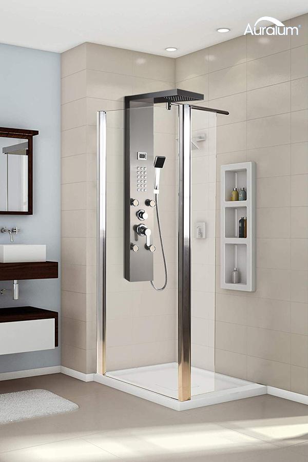 Auralum Duschpaneel schwarz für modernes Bad, die ideale