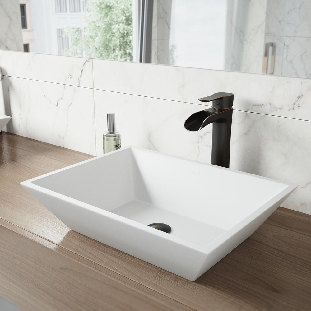 White Vinca Matte Stone Vessel Bathroom Sink In White With Niko Vessel Faucet In Antique Rubbed Bronze Matte White