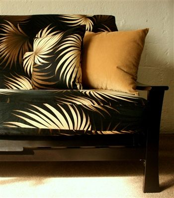 Dramatic Hawaiian Bark Cloth Futon Cover In Black Er And Forest Green Also Available