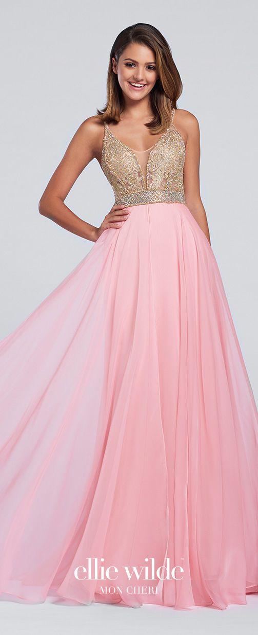 Light Pink Chiffon Full A-Line Prom Dress - EW117118 | Vestiditos