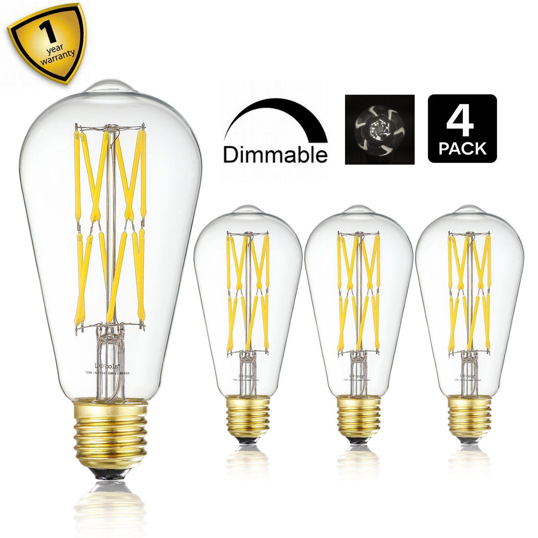 Leools Led Edison Bulb 10w Dimmable 4000k Neutral White 1200lm 100w Equivalent E26 Medium Base St21st64 Vintag Light Bulb Filament Bulb Lighting Led Light Bulb
