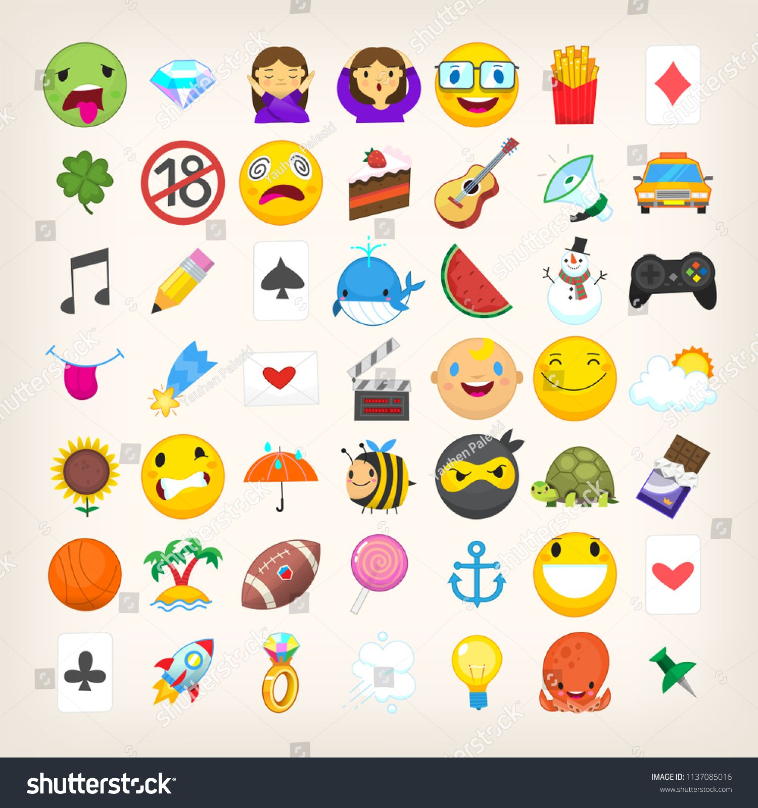 Set Of Graphic Emoticons Signs And Symbols Used In Social Media Chats Cartoon Style Vector Icons Cute And Funny Cartoon Styles Funny Character Vector Icons