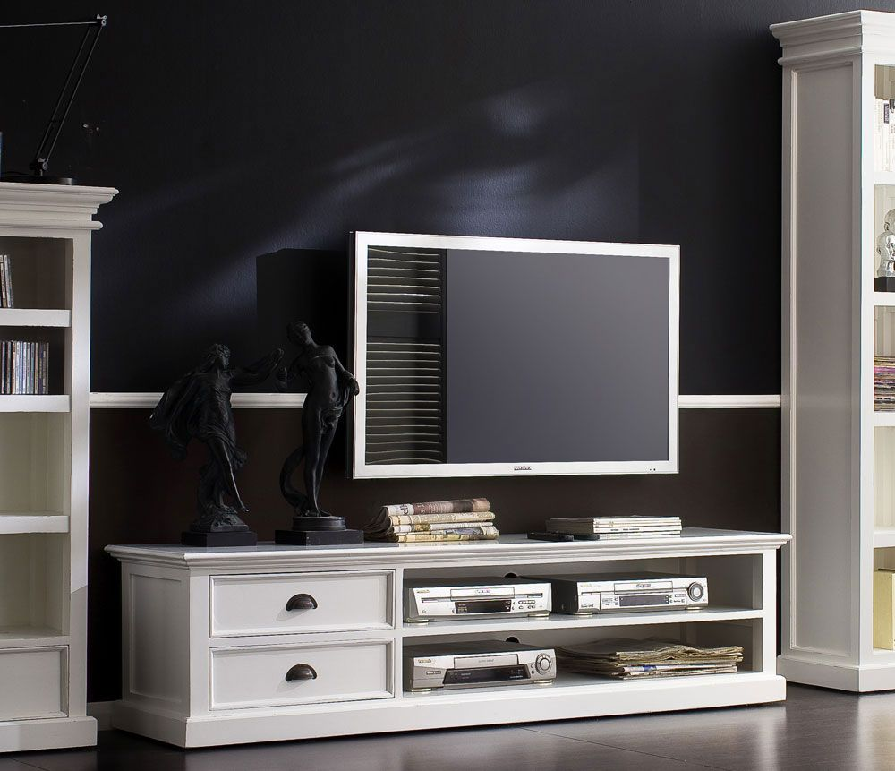 Large Tv Cabinets Country Vintage White Painted Television Cabinet Livingroom