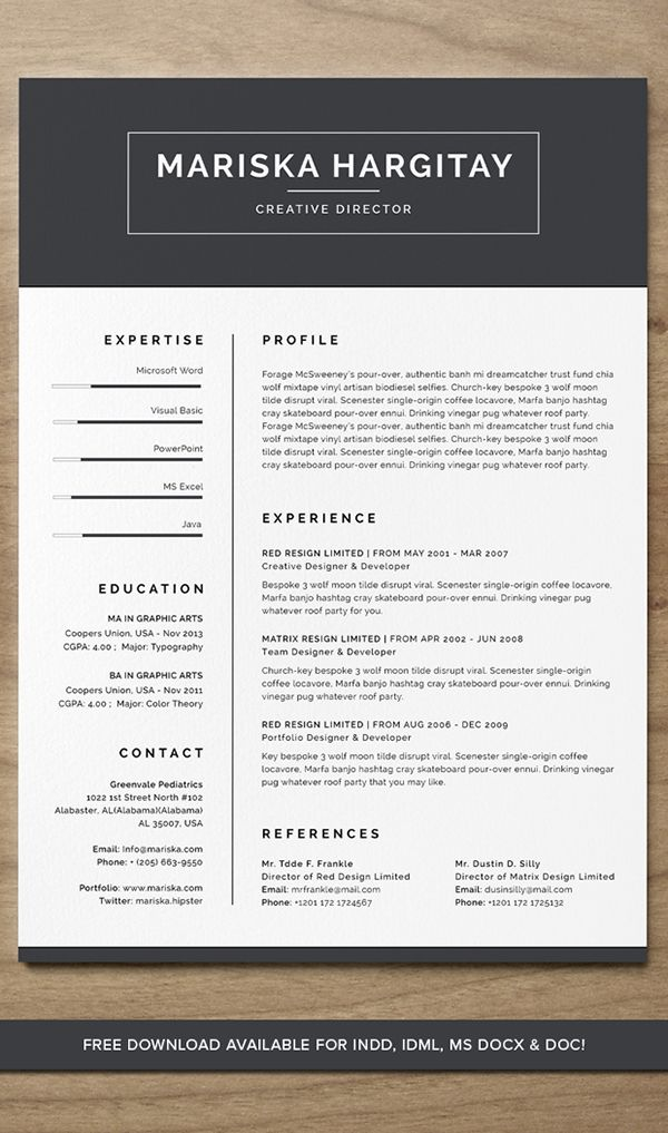 High End Free Resume Cv For Word  Indd On Behance  Resume