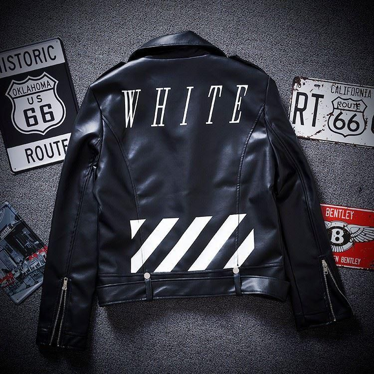 Off White Jacket Leather Jacket Men Jaqueta Moto Leather