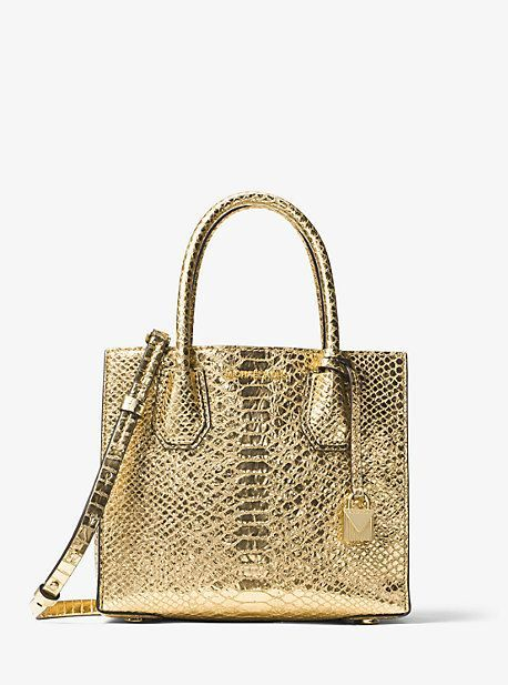 Michael Kors Mercer Metallic Embossed-Leather Crossbody  ad ... e5f6473a09f