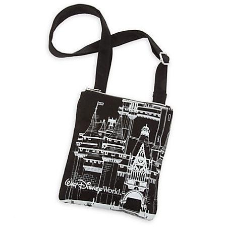 Disney Crossbody Bag Walt World Castle Black Canvas