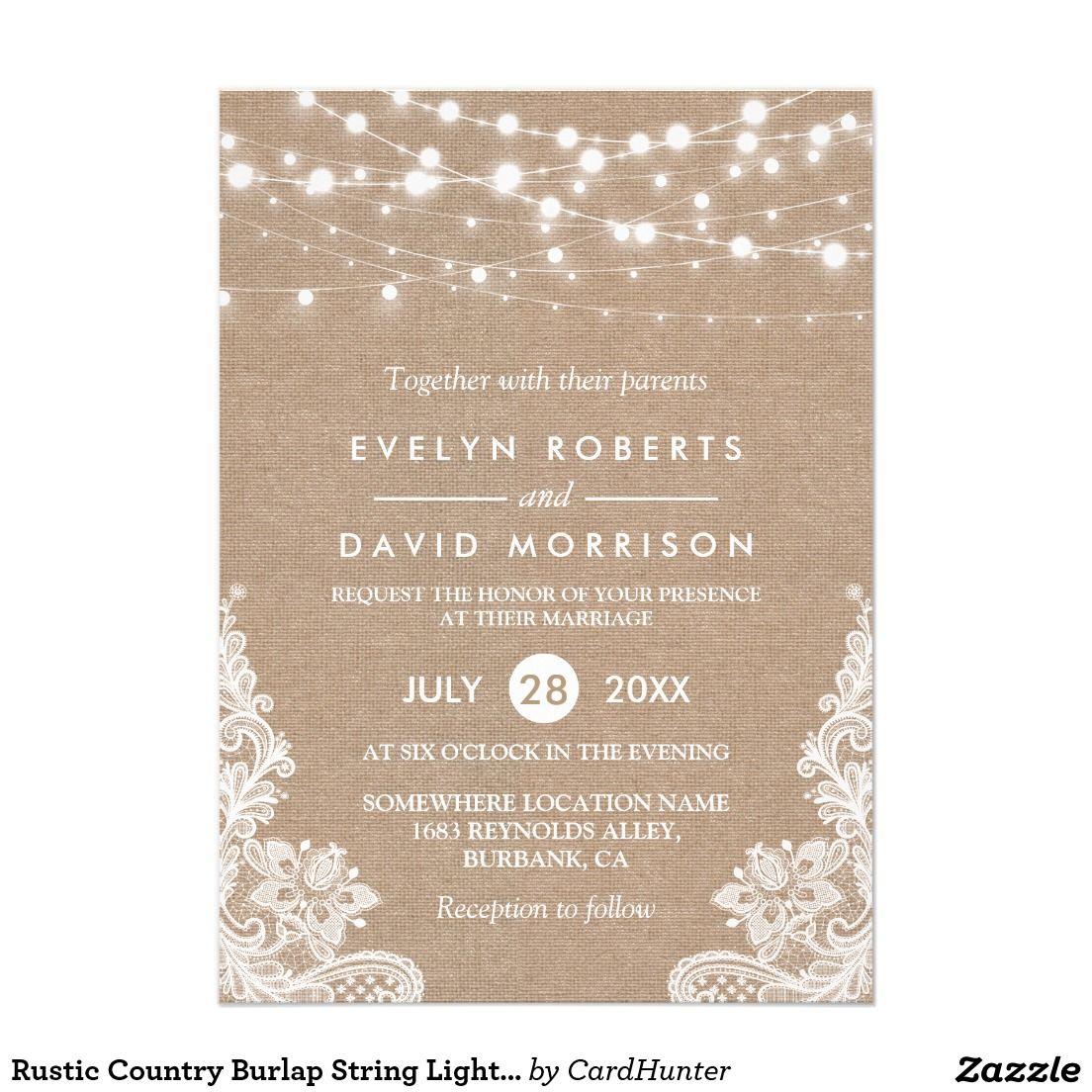 Rustic Country Burlap String Lights Lace Wedding Invitation Burlap
