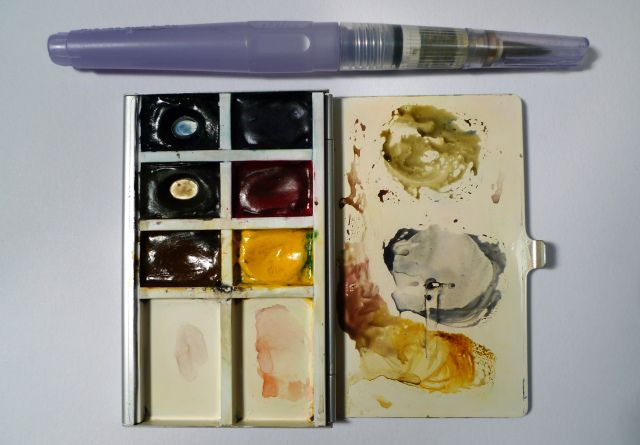 Watercolor Palettes Muji Card Case 6 Colours 2 Extra Mixing