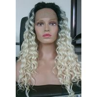 Synthetic Curly Lace Front Dark Roots Blonde Ombre Wig T1B/613 Cheap Good Quality Two Tone African American Curly Wigs