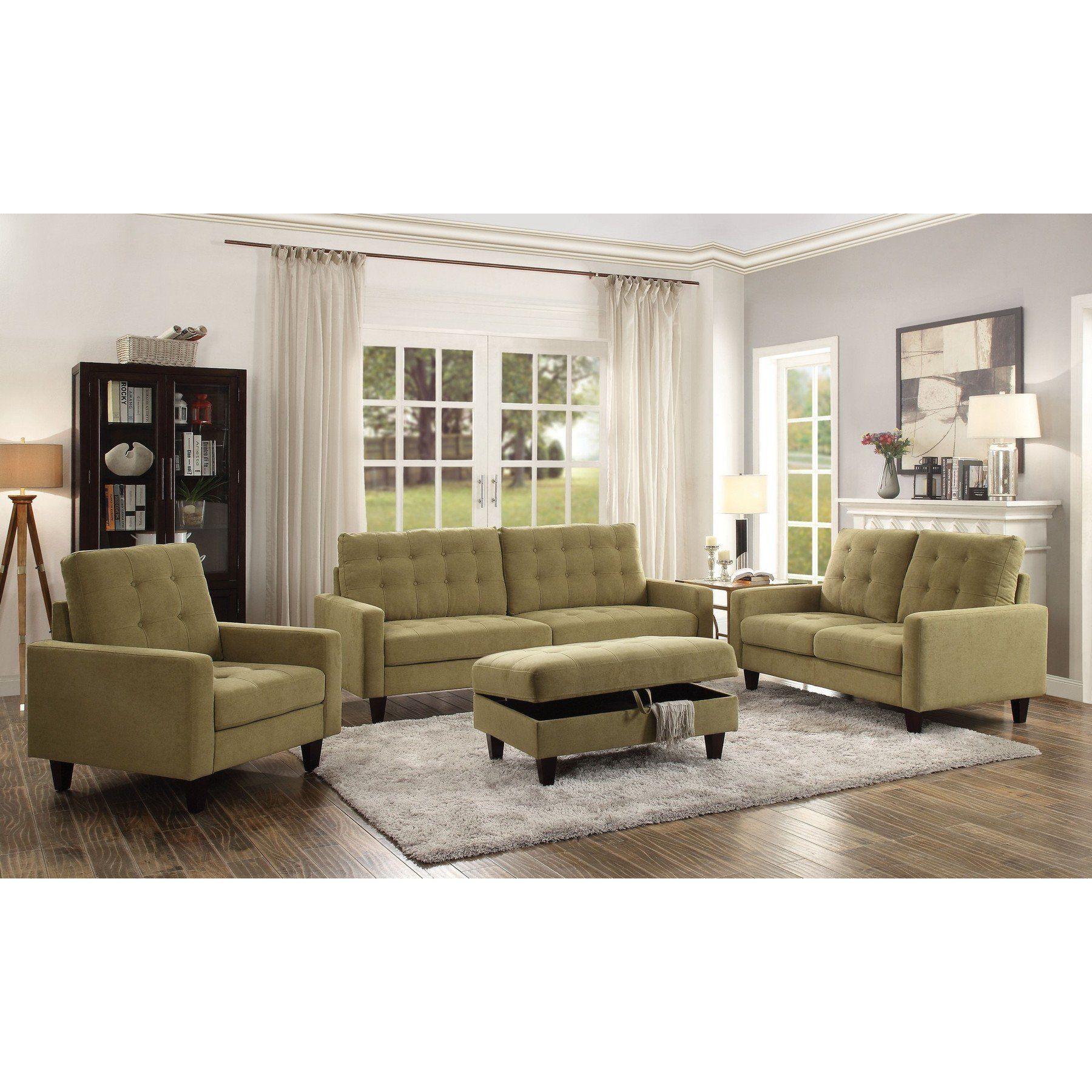 Best Acme Nate Mustard Fabric 3 Pc Living Room Set Living 400 x 300