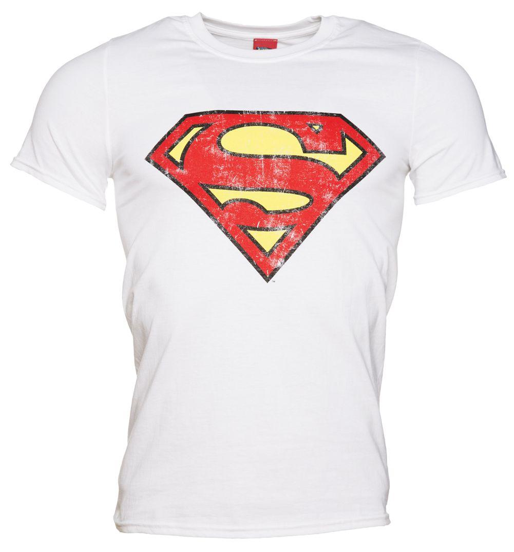 Distressed Style S-XXL Men/'s T-Shirt Batman Logo White DC Comics