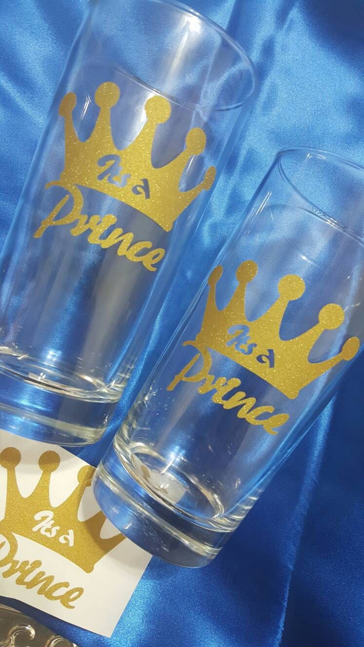 glitter gold its a prince vinyl decal / sticker , can be used to decorate cups , wall . used for prince theme baby shower party  pack comes with 25 decals with transfer paper for easy apply.  each sticker is approximately 3.5 x 3 inches